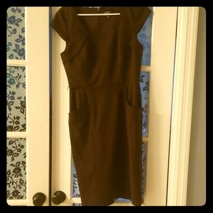 Brown fitted work dress